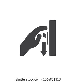 Switch off after use vector icon. Hand turning off the light filled flat sign for mobile concept and web design. Toggle switch glyph icon. Mandatory symbol, logo illustration. Pixel perfect vector