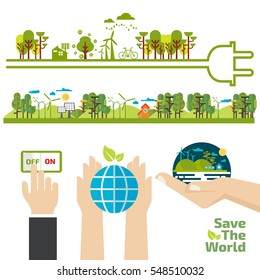 switch off, energy concept, flat design concept for ecology, green, recycle and save the planet, think green, save the world