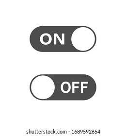 Switch on or off. Toggle to enable or disable. Switcher on device to control mode. Sliding element. Dark and day mode. Vector EPS 10.