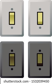 Switch on and off vector in light and dark