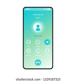 Switch speaker smartphone interface vector template. Mobile app page blue gradient design layout. Incoming call, voicemail screen. Flat UI for application. Mute, keypad buttons. Phone display