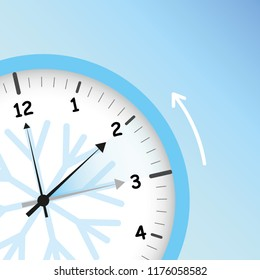 switch to winter time concept for daylight saving with snowflake vector illustration EPS10