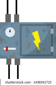 Switchboard. Electrical wires in box. High voltage sensor. Fuse and electrical engineering. Technical industrial appliance. Current switch. Danger sign - yellow lightning. Cartoon flat illustration