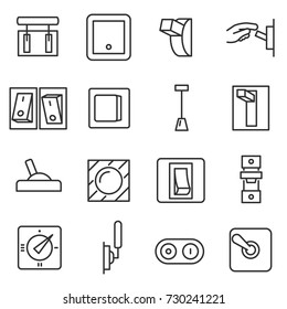 Switches icon set. Switch Thin line design. Lines with editable stroke.