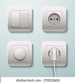 Switches and sockets set. Realistic vector illustration