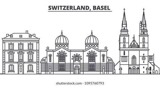 Switzerland, Basel  line skyline vector illustration. Switzerland, Basel  linear cityscape with famous landmarks, city sights, vector landscape.