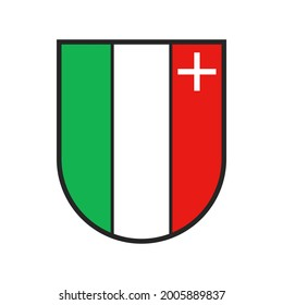 Switzerland canton flag, Swiss city heraldic crest of Neuchatel sate city, vector coat of arms. Swiss canton or Schweiz kanton heraldic shield sign, red, white and green flag with cross