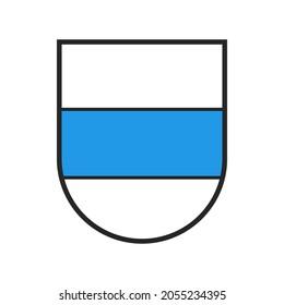Switzerland canton flag, Swiss Zoug city emblem and crest coat of arms, vector heraldic shield. Schweiz kanton or Switzerland canton of Zoug or Zug state and city crest or armorial coat of arms badge