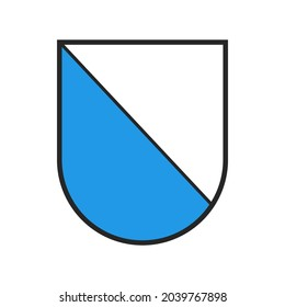 Switzerland canton flag, Swiss Zurich coat of arms, vector heraldic crest shield. Schweiz kanton or Switzerland canton of Zurich, state and city crest or armorial badge, white and blue coat of arms