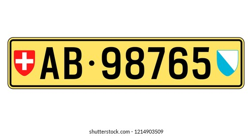 Switzerland car plate. Vehicle registration number