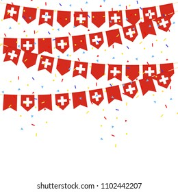 Switzerland celebration bunting flags with Confetti And Ribbons on white background.vector illustration
