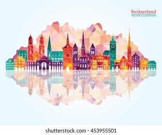 Switzerland detailed skyline. Vector illustration