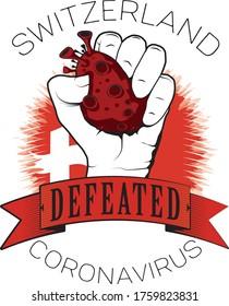 Switzerland europe coronavirus win defeated color flag fist vector illustrator printable template full quality