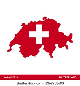 Switzerland - Europe Countries Map and Flag Vector Icon Template Illustration Design. Vector EPS 10.