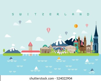 Switzerland Famous Landmarks Infographic Templates for Traveling Minimal Style and Icon, Symbol Set Vector Illustration Can be use for Poster Travel book, Postcard, Billboard.