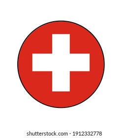 Switzerland Flag Icon with White cross on red background in Europe.