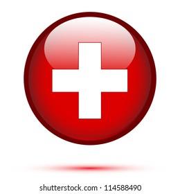 Switzerland flag on button isolated on white