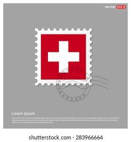 Switzerland Flag Postage Stamp on white background. Vector illustration.