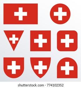 Switzerland flag set. Swiss national symbol. Vector illustration.