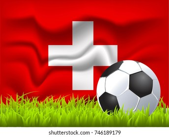 Switzerland flag and soccer ball
