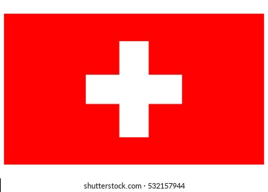 Switzerland flag. Swiss flag. Switzerland flag, official colors. National Switzerland flag. Flat vector illustration. EPS10.