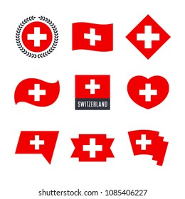 Switzerland flag vector icons and logo design elements with the Swiss flag