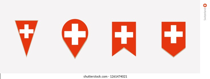 Switzerland flag in vertical design, vector illustration.