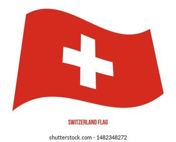Switzerland Flag Waving Vector Illustration on White Background. Switzerland National Flag.