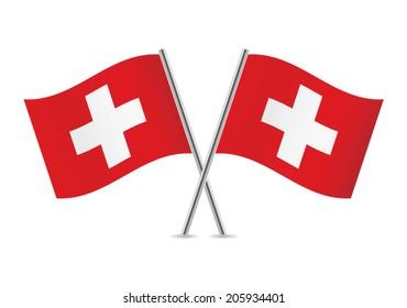 Switzerland flags. Vector illustration.