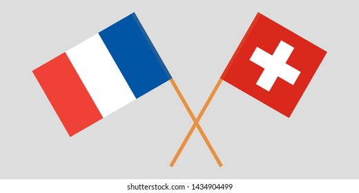 Switzerland and France. Crossed Swiss and  French flags