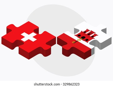 Switzerland and Gibraltar Flags in puzzle isolated on white background