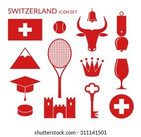 Switzerland. Icon set. Vector illustration