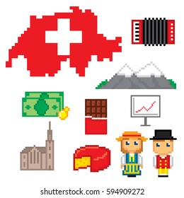 Switzerland icons set. Pixel art. Old school computer graphic style. Games elements.