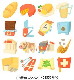 Switzerland itravel icons set. Cartoon illustration of 16 Switzerland travel vector icons for web