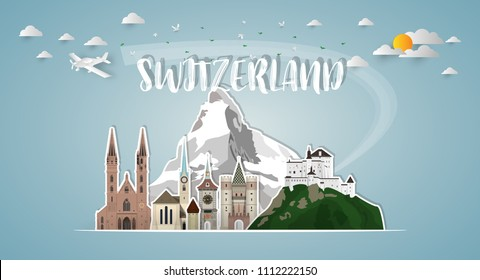 Switzerland Landmark Global Travel And Journey paper background. Vector Design Template.used for your advertisement, book, banner, template, travel business or presentation