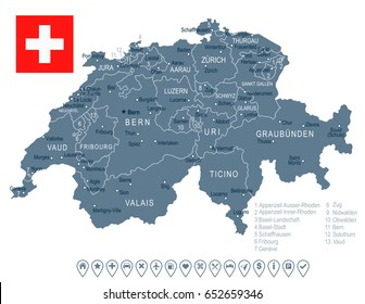 Switzerland map and flag - highly detailed vector illustration