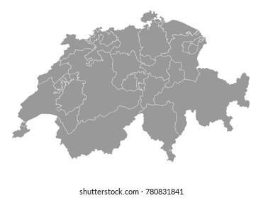 switzerland map. High detailed map of switzerland on white background. Vector illustration eps 10.