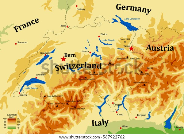 Switzerland Physical Vector Map Cities Mounts | Royalty-Free ...