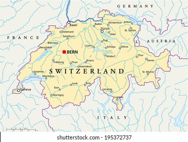 Map Of Germany And Switzerland With Cities.Switzerland Map Images Stock Photos Vectors Shutterstock