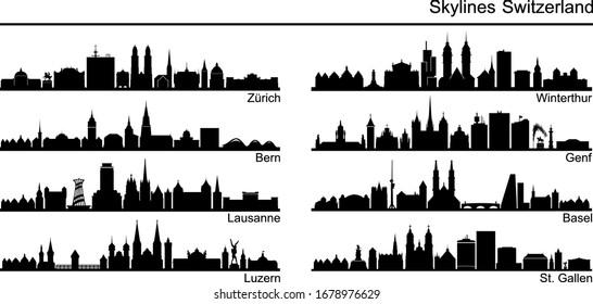 SWITZERLAND SET City Skyline Silhouette Cityscape Vector
