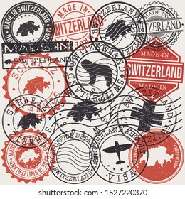 Switzerland Set of Stamps. Travel Passport Stamp. Made In Product. Design Seals Old Style Insignia. Icon Clip Art Vector.
