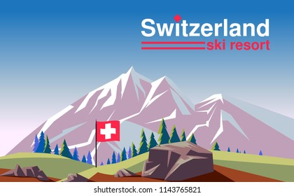 Switzerland ski resort poster design with mountains landscape. Vector illustration.