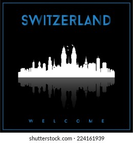 Switzerland skyline silhouette vector design on parliament blue and black background.
