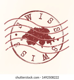 Switzerland Stamp Postal. Map Silhouette Seal. Passport Round Design. Vector Icon. Design Retro Travel.