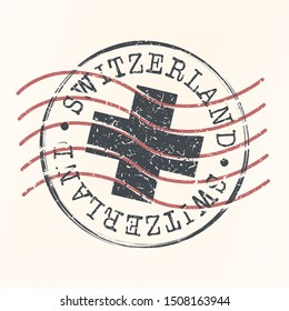 Switzerland Stamp Postal. Silhouette Seal. Passport Round Design. Vector Icon. Design Retro Travel.