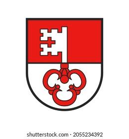 Switzerland, Swiss canton flag and coat of arms of Obwalden city, vector crest shield. Schweiz kanton or Obwald Switzerland canton heraldic sign and coat of arms or armorial state and city crest