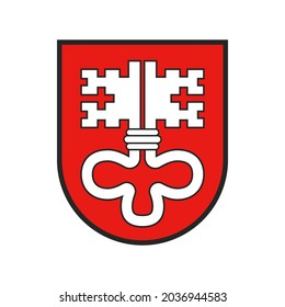 Switzerland, Swiss canton flag or Schweiz crest heraldry of city state, vector icon. Swiss canton symbol and coat of arms of Nidwalden, national heraldic sign on shield with key emblem