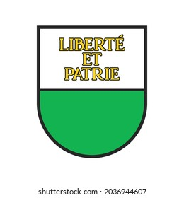 Switzerland, Swiss canton, region state flag, vector Vaud city coat of arms shield. Schweiz kanton or Swiss canton heraldry symbol, heraldic armorial badge with Liberte et Patrie slogan on shield