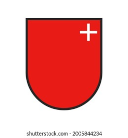 Switzerland, Swiss state canton flag or crest and Schwyz city vector coat of arms. Swiss canton or Schweiz kanton heraldic shield sign, red flag with white cross
