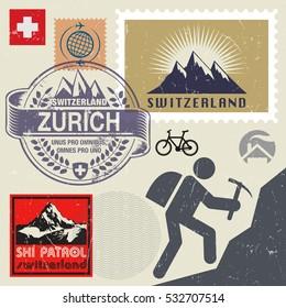 Switzerland travel or adventure theme stamps or labels set, vector illustration